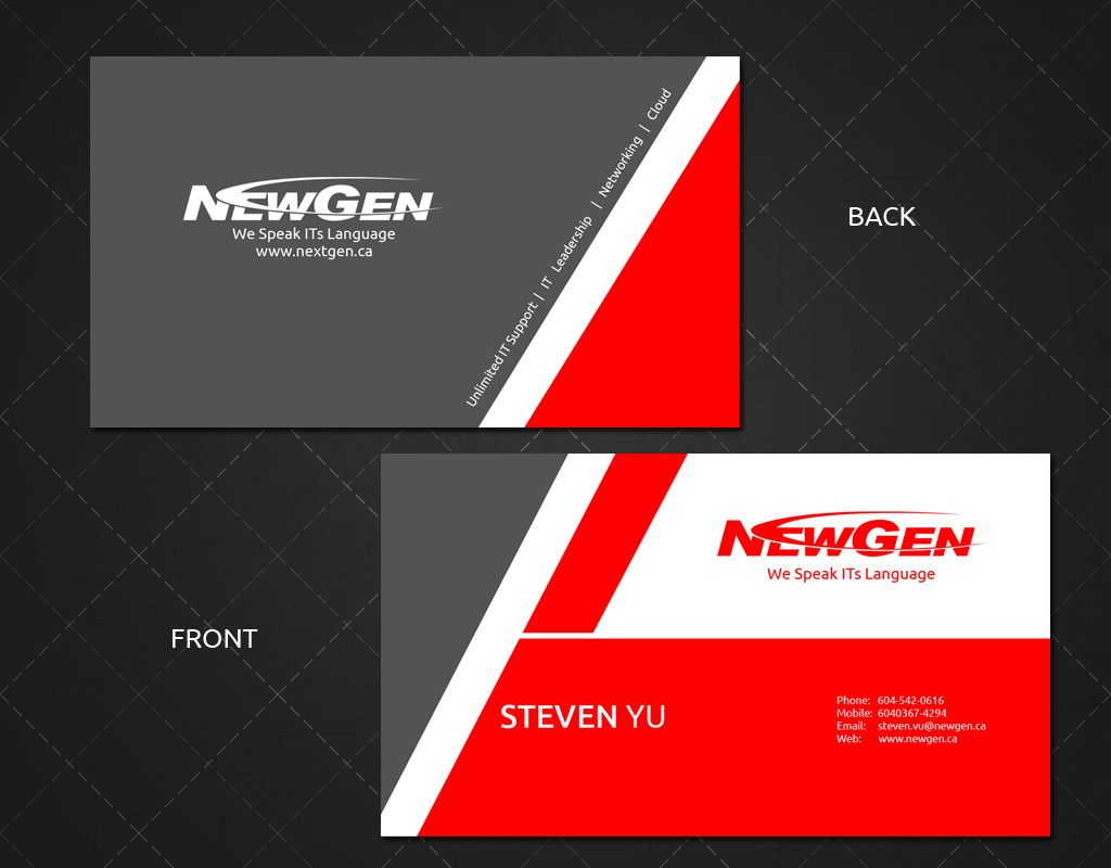 Business Card Design by Jan Chua - Entry No. 129 in the Business Card Design Contest Inspiring Business Card Design for NewGen Technologies.