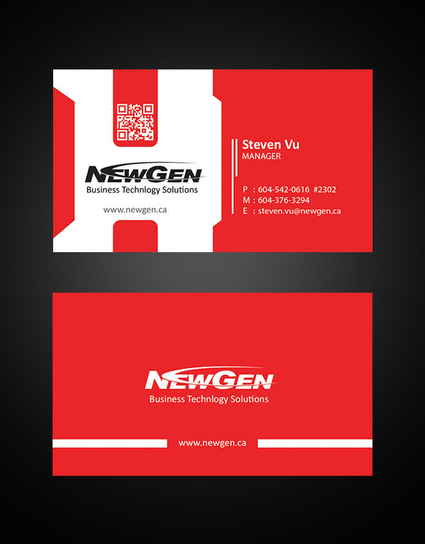 Business Card Design by Sai Prathik - Entry No. 138 in the Business Card Design Contest Inspiring Business Card Design for NewGen Technologies.