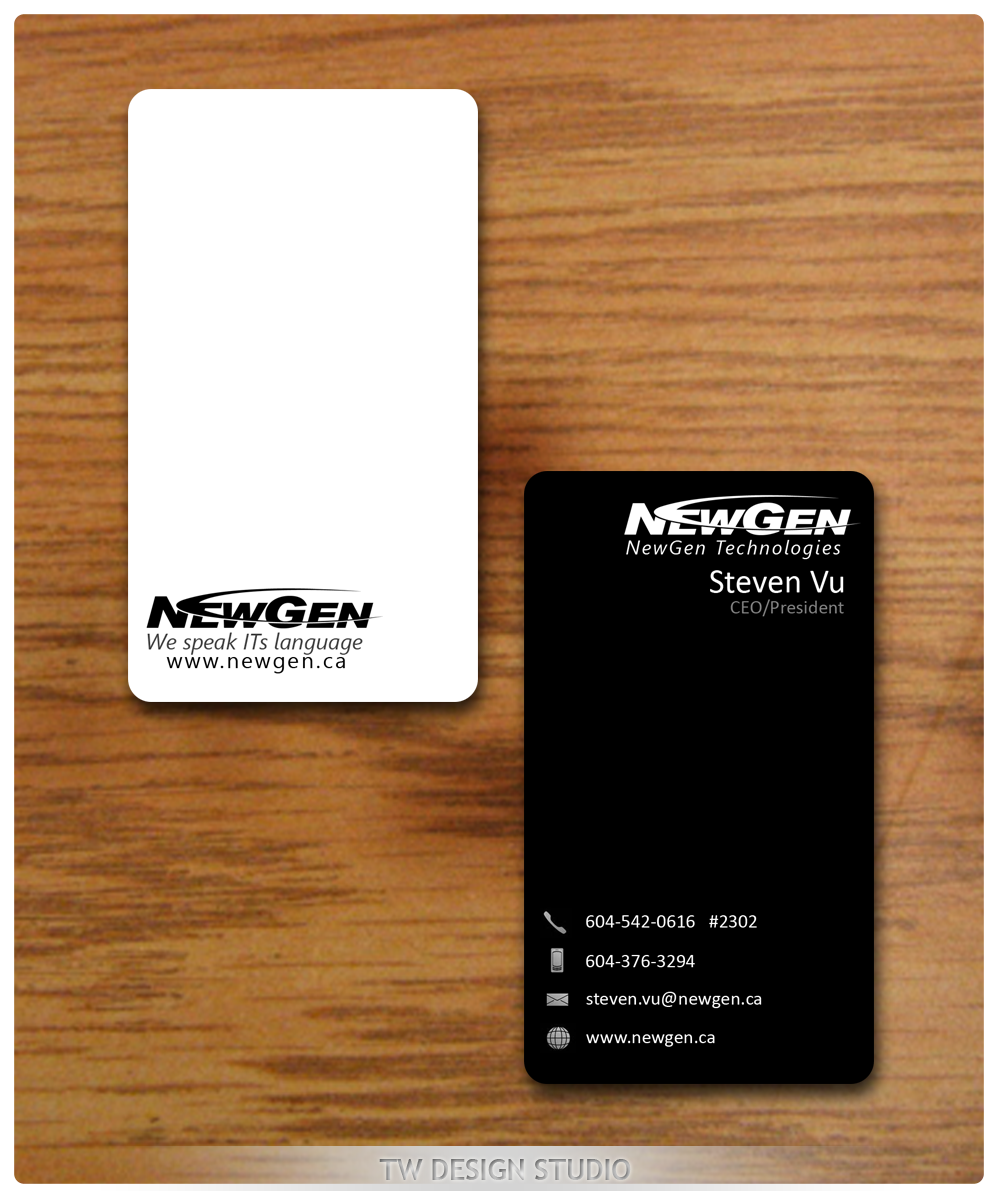 Business Card Design by Robert Turla - Entry No. 140 in the Business Card Design Contest Inspiring Business Card Design for NewGen Technologies.