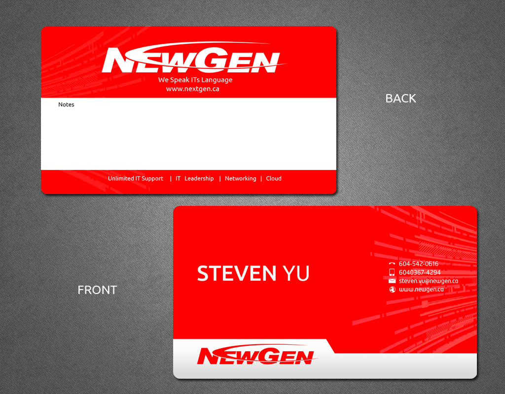Business Card Design by Jan Chua - Entry No. 143 in the Business Card Design Contest Inspiring Business Card Design for NewGen Technologies.
