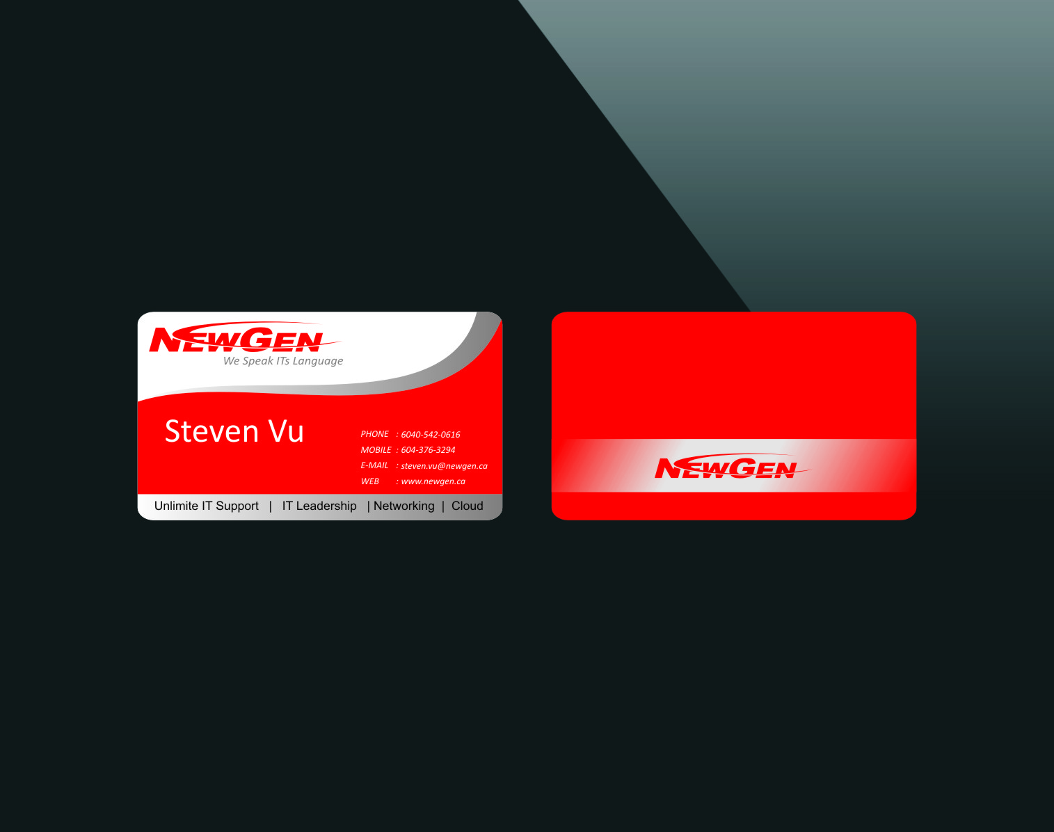 Business Card Design by Ngepet_art - Entry No. 148 in the Business Card Design Contest Inspiring Business Card Design for NewGen Technologies.