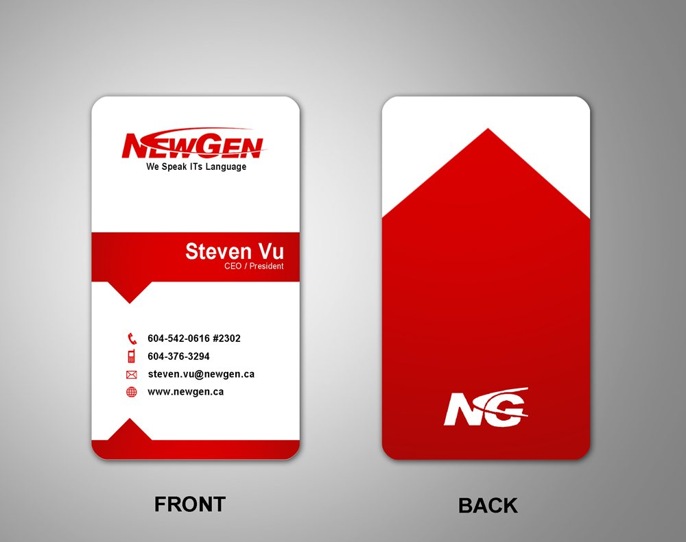 Business Card Design by Respati Himawan - Entry No. 163 in the Business Card Design Contest Inspiring Business Card Design for NewGen Technologies.