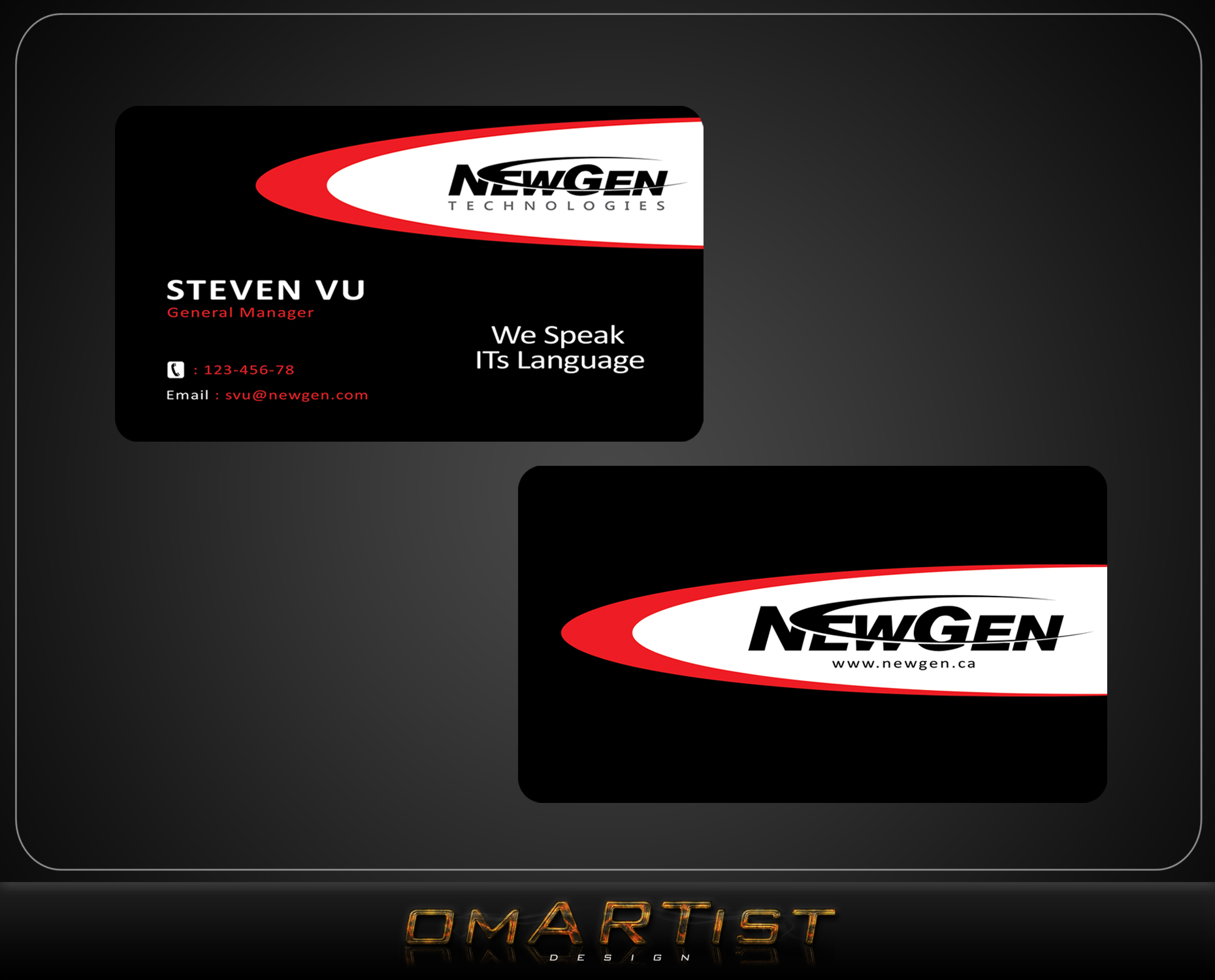 Business Card Design by omARTist - Entry No. 165 in the Business Card Design Contest Inspiring Business Card Design for NewGen Technologies.
