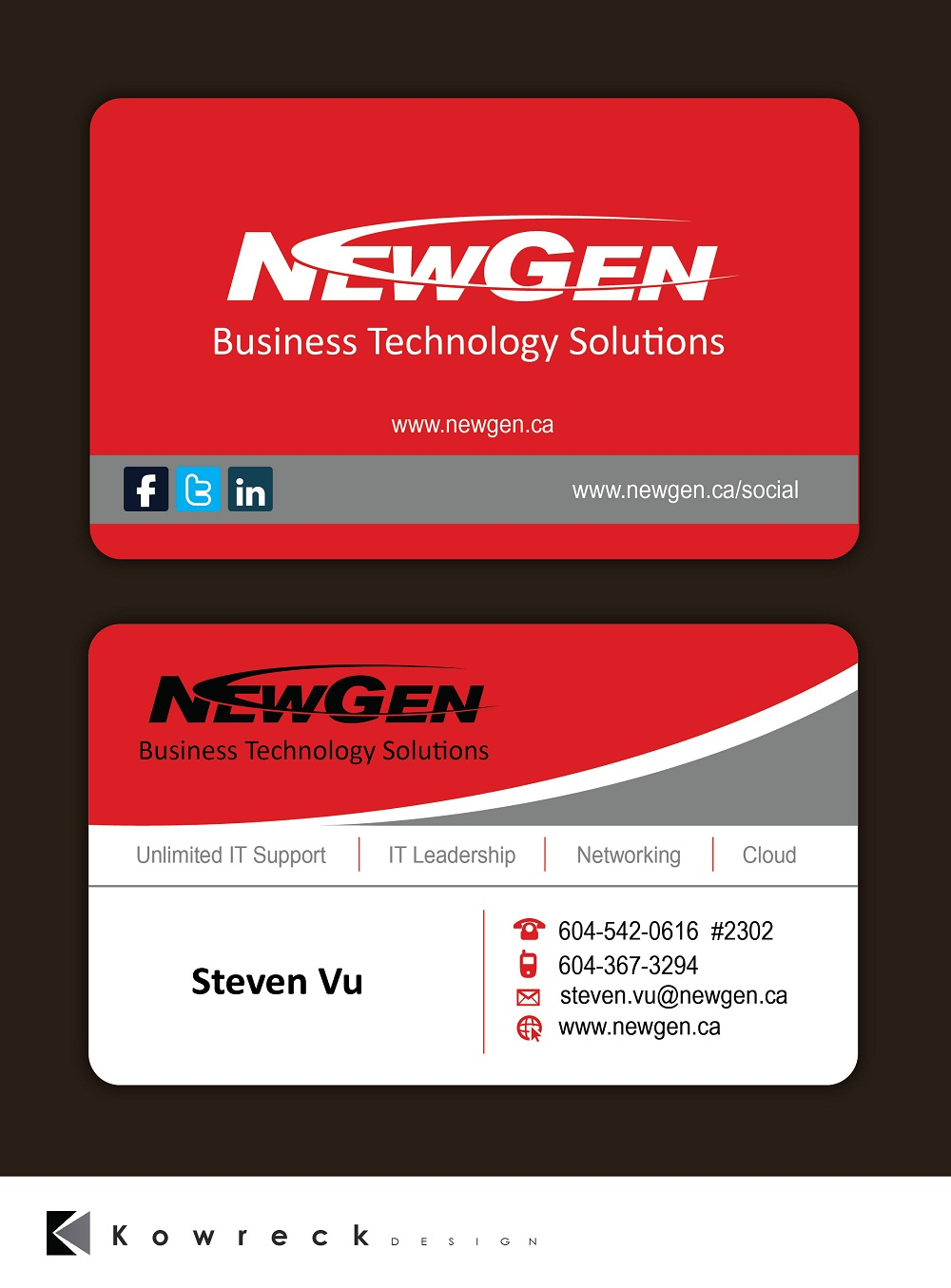 Business Card Design by kowreck - Entry No. 176 in the Business Card Design Contest Inspiring Business Card Design for NewGen Technologies.