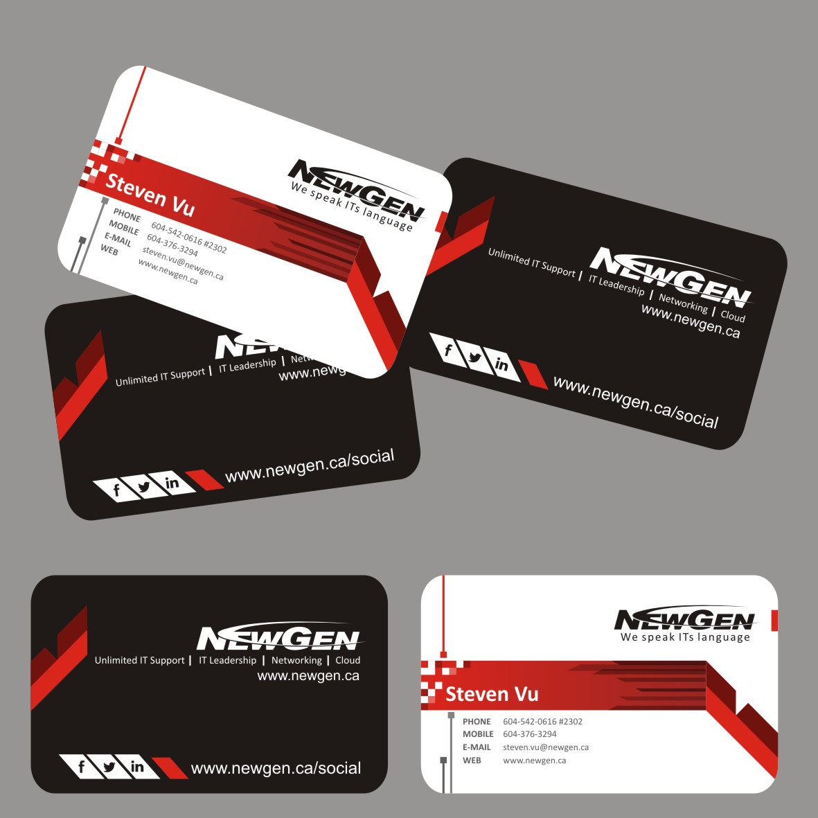 Business Card Design by arteo_design - Entry No. 180 in the Business Card Design Contest Inspiring Business Card Design for NewGen Technologies.