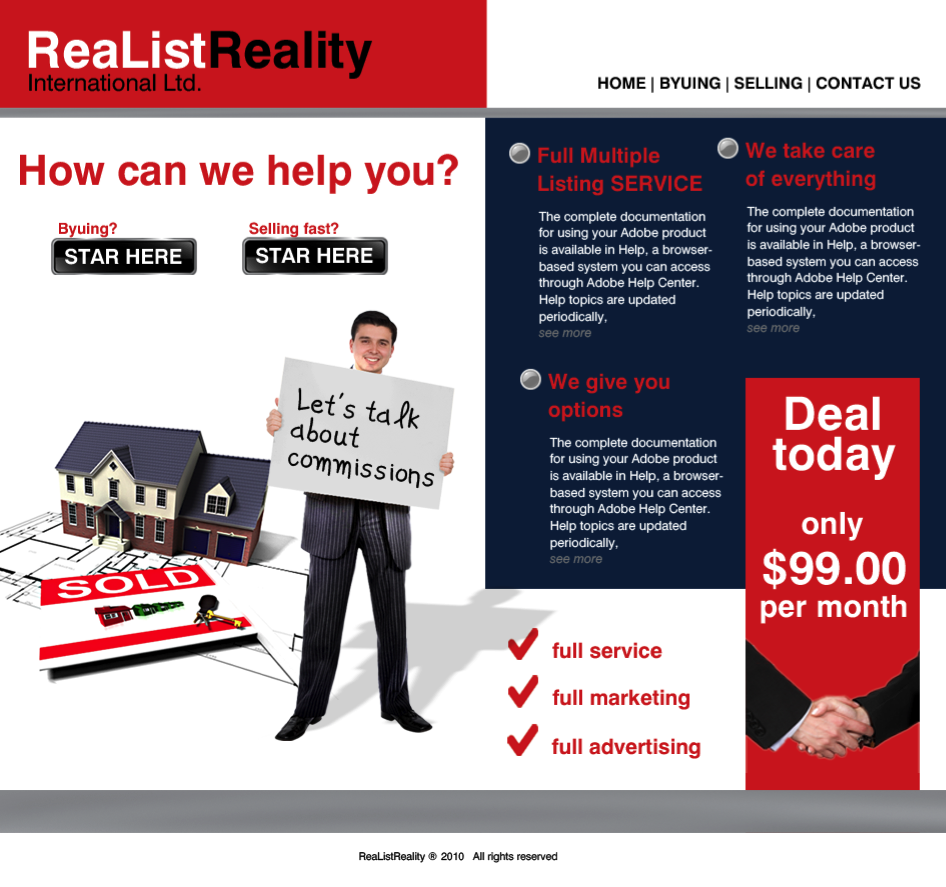 Web Page Design by limix - Entry No. 13 in the Web Page Design Contest Realist Realty International Ltd..