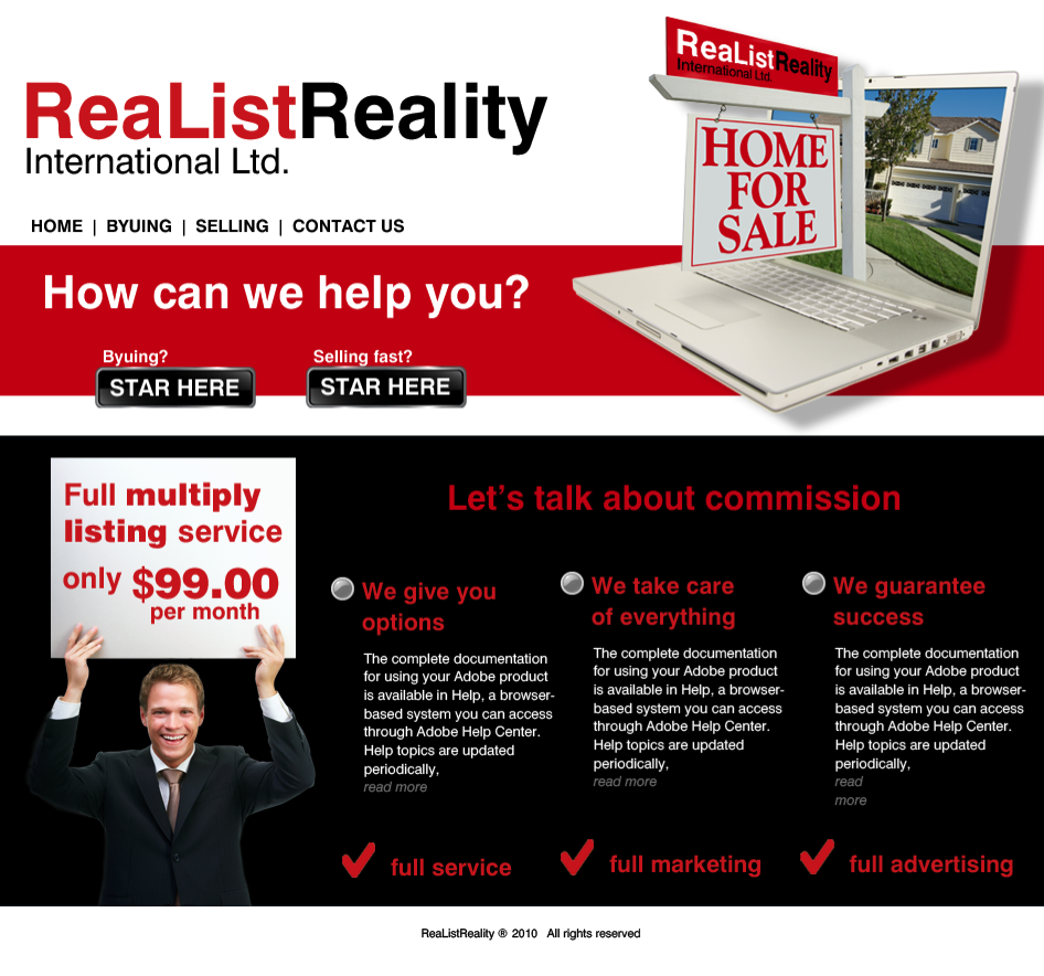 Web Page Design by limix - Entry No. 26 in the Web Page Design Contest Realist Realty International Ltd..