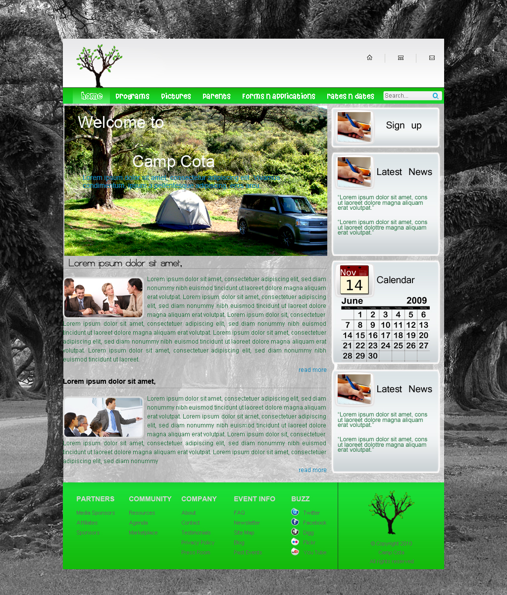 Web Page Design by Geniye - Entry No. 2 in the Web Page Design Contest Camp COTA - Clean, Crisp Design Needed.
