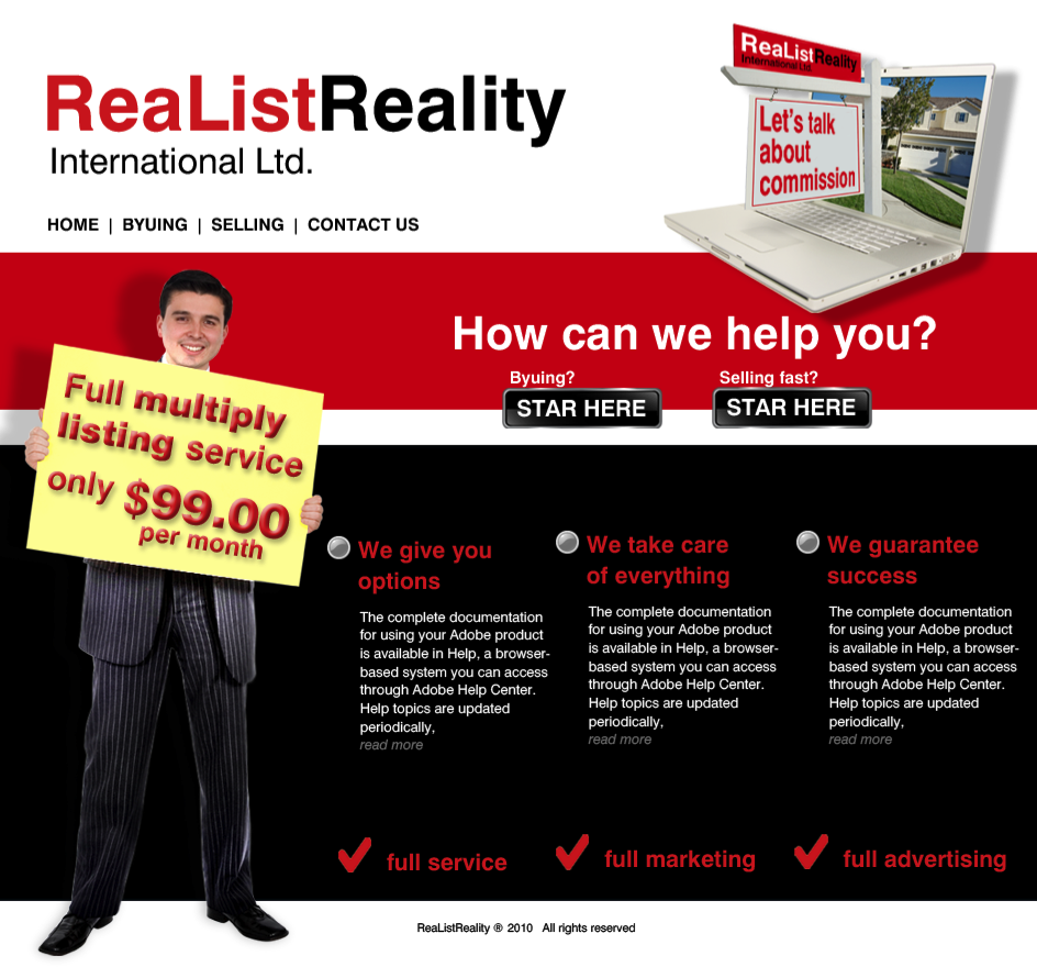 Web Page Design by limix - Entry No. 33 in the Web Page Design Contest Realist Realty International Ltd..