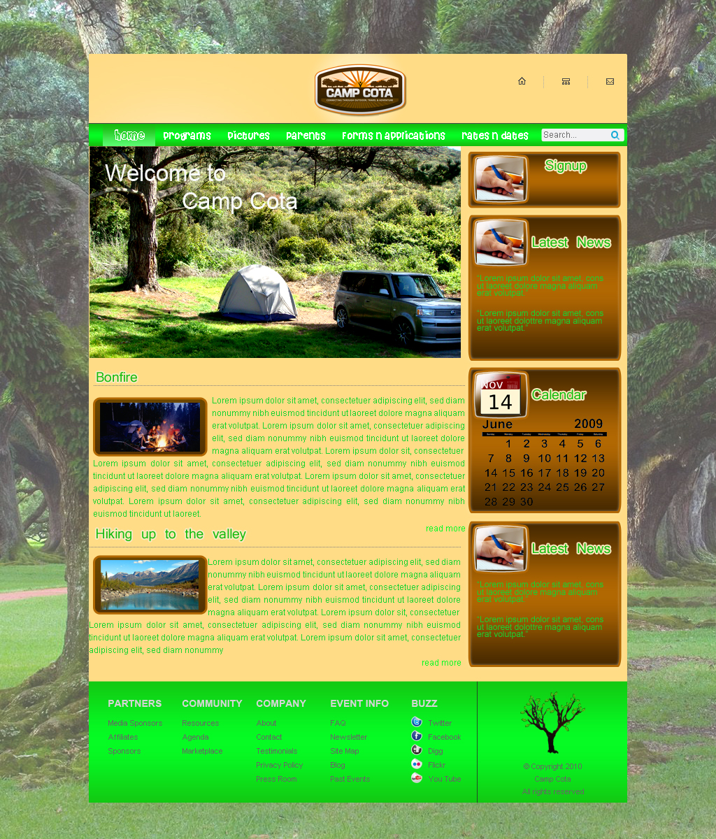 Web Page Design by Geniye - Entry No. 3 in the Web Page Design Contest Camp COTA - Clean, Crisp Design Needed.