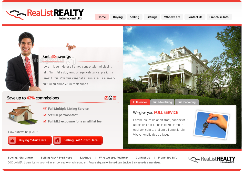 Web Page Design by kalipp - Entry No. 41 in the Web Page Design Contest Realist Realty International Ltd..