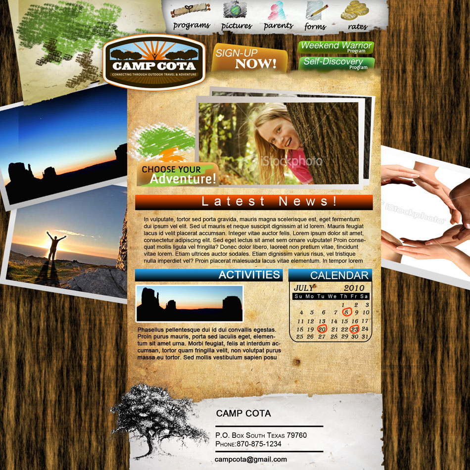 Web Page Design by Brian  Lu - Entry No. 19 in the Web Page Design Contest Camp COTA - Clean, Crisp Design Needed.