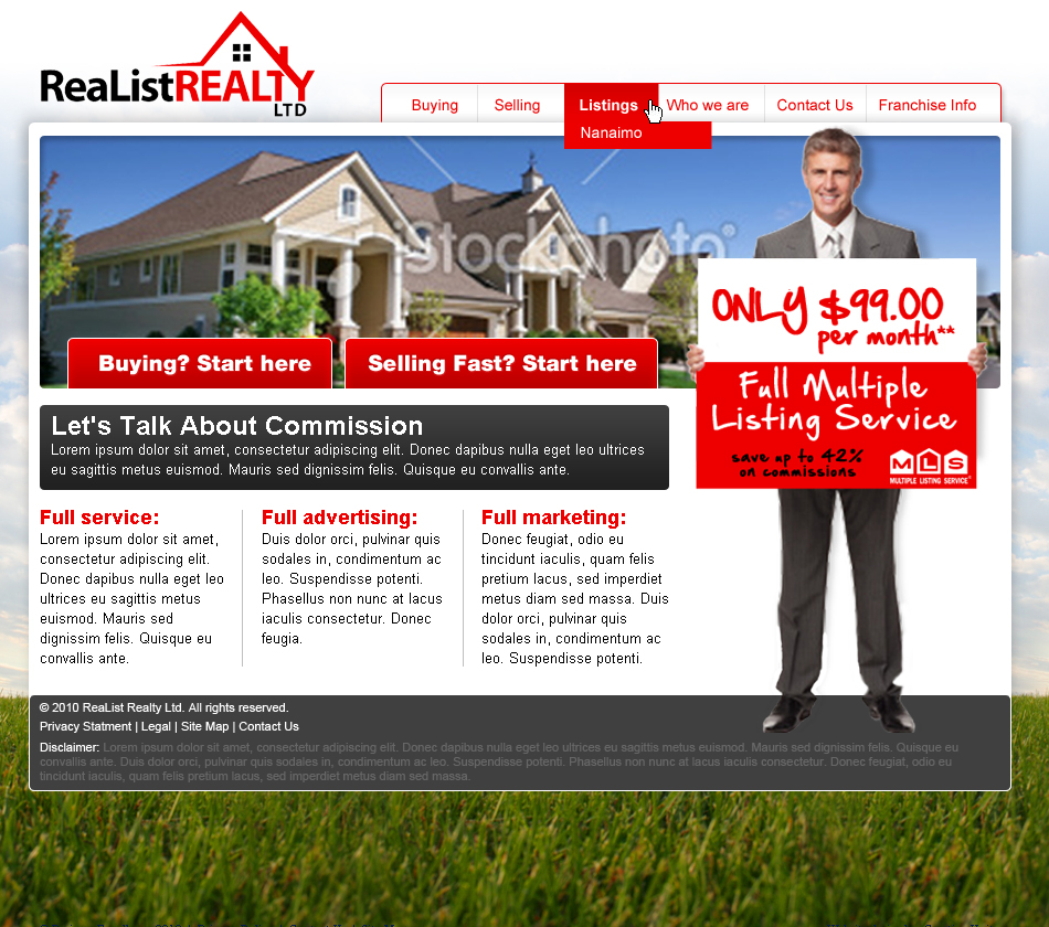 Web Page Design by Piotr Rauchfleisch - Entry No. 49 in the Web Page Design Contest Realist Realty International Ltd..