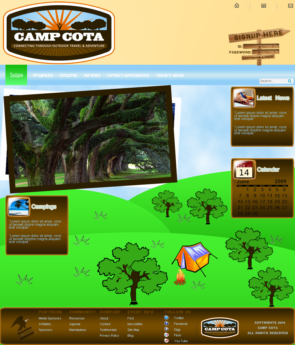 Web Page Design by Geniye - Entry No. 21 in the Web Page Design Contest Camp COTA - Clean, Crisp Design Needed.