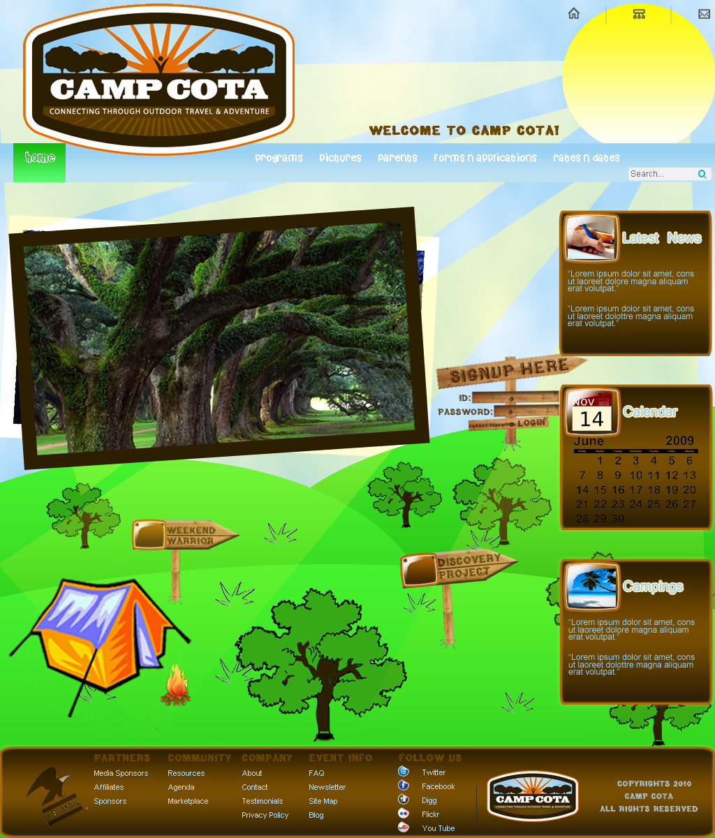 Web Page Design by Geniye - Entry No. 25 in the Web Page Design Contest Camp COTA - Clean, Crisp Design Needed.
