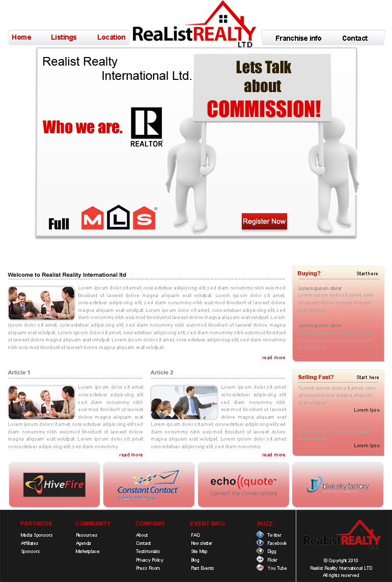 Web Page Design by Geniye - Entry No. 54 in the Web Page Design Contest Realist Realty International Ltd..