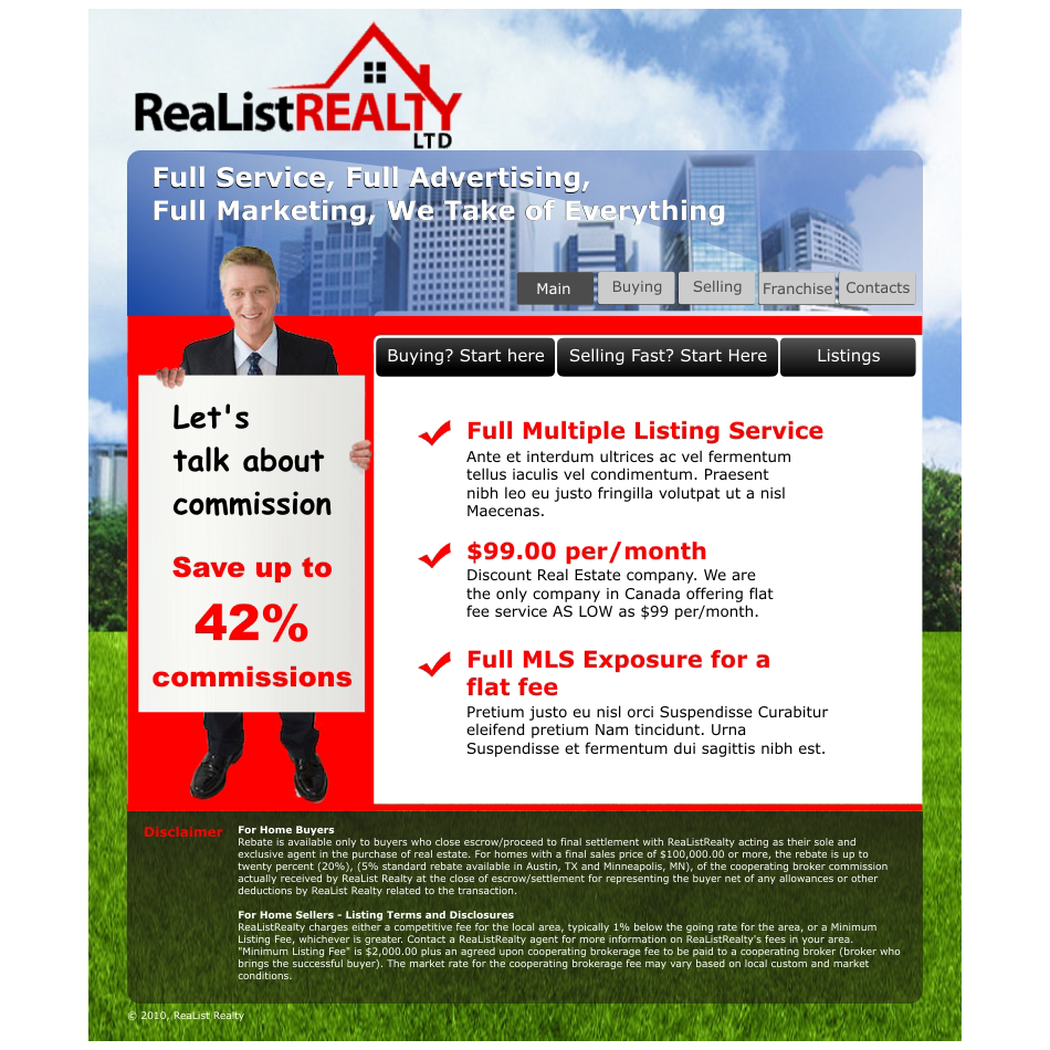 Web Page Design by aspstudio - Entry No. 55 in the Web Page Design Contest Realist Realty International Ltd..