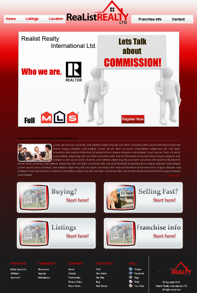 Web Page Design by Geniye - Entry No. 56 in the Web Page Design Contest Realist Realty International Ltd..