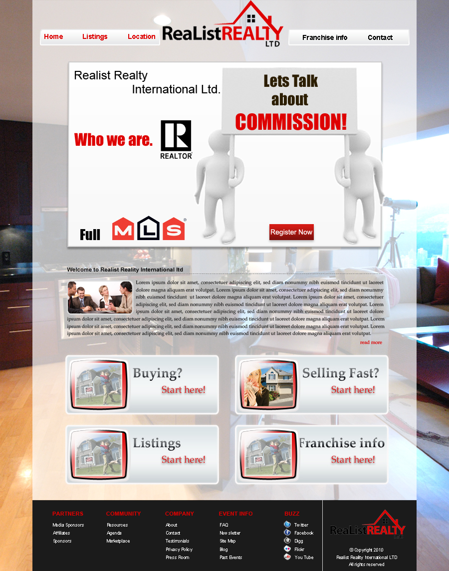 Web Page Design by Geniye - Entry No. 61 in the Web Page Design Contest Realist Realty International Ltd..