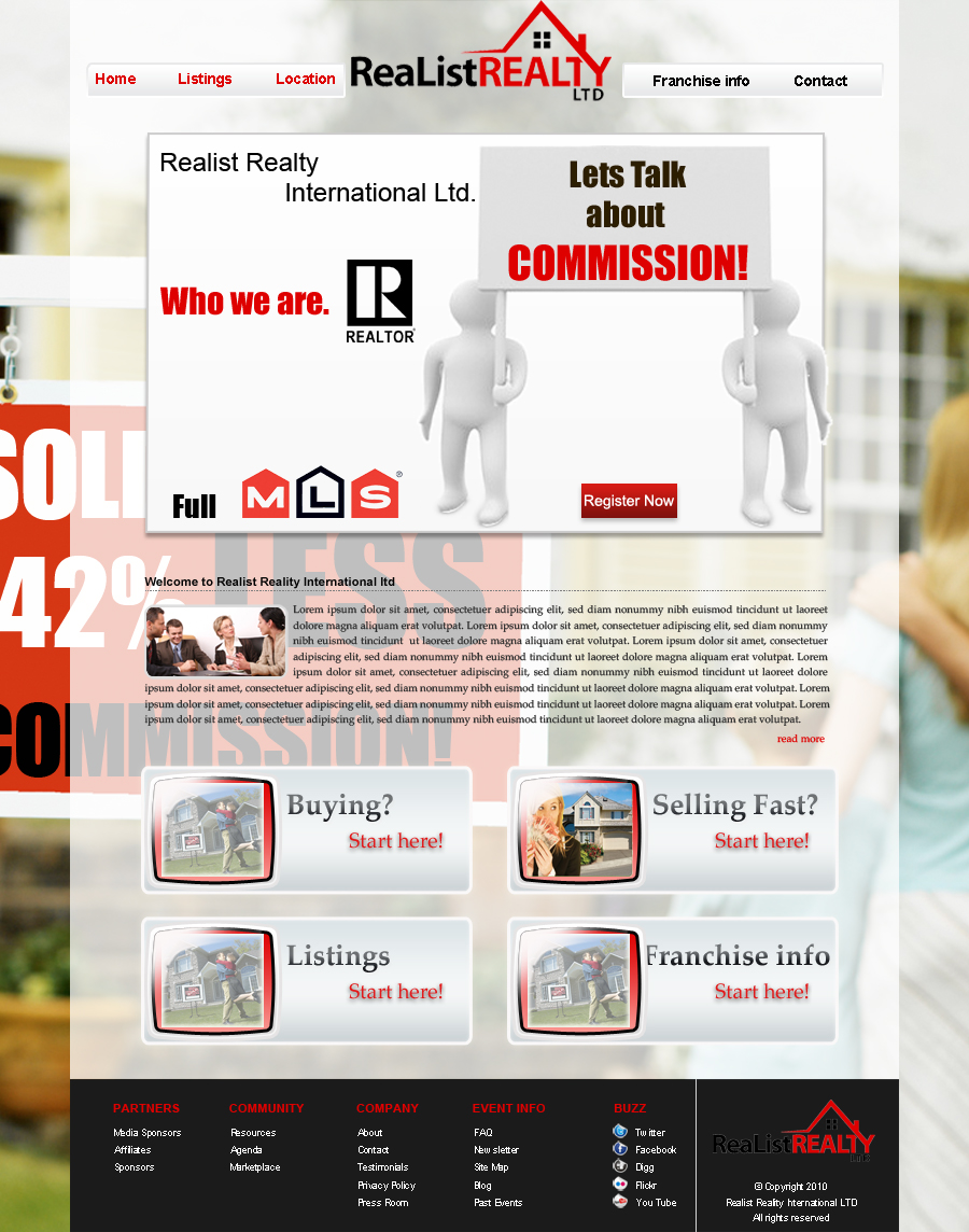 Web Page Design by Geniye - Entry No. 63 in the Web Page Design Contest Realist Realty International Ltd..