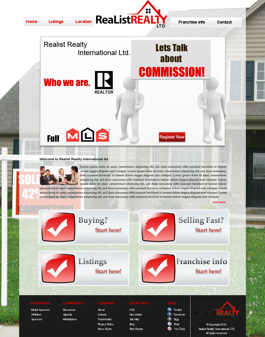Web Page Design by Geniye - Entry No. 65 in the Web Page Design Contest Realist Realty International Ltd..