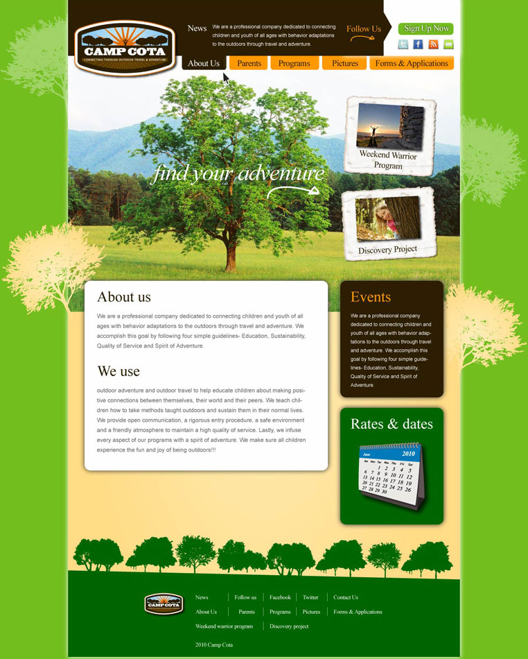 Web Page Design by Zisis-Papalexiou - Entry No. 28 in the Web Page Design Contest Camp COTA - Clean, Crisp Design Needed.