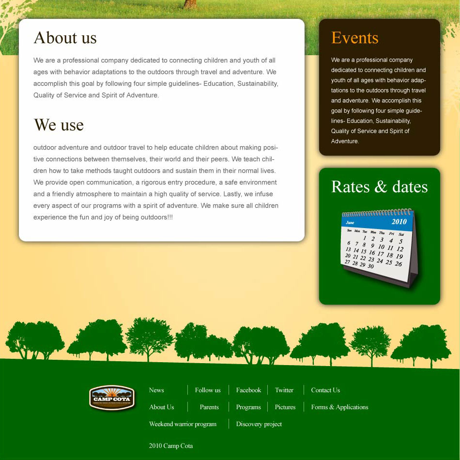 Web Page Design by Zisis-Papalexiou - Entry No. 30 in the Web Page Design Contest Camp COTA - Clean, Crisp Design Needed.
