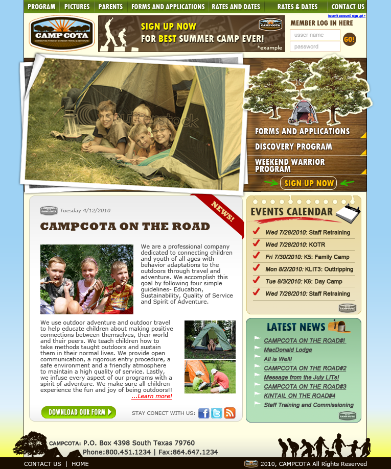Web Page Design by florendias - Entry No. 31 in the Web Page Design Contest Camp COTA - Clean, Crisp Design Needed.