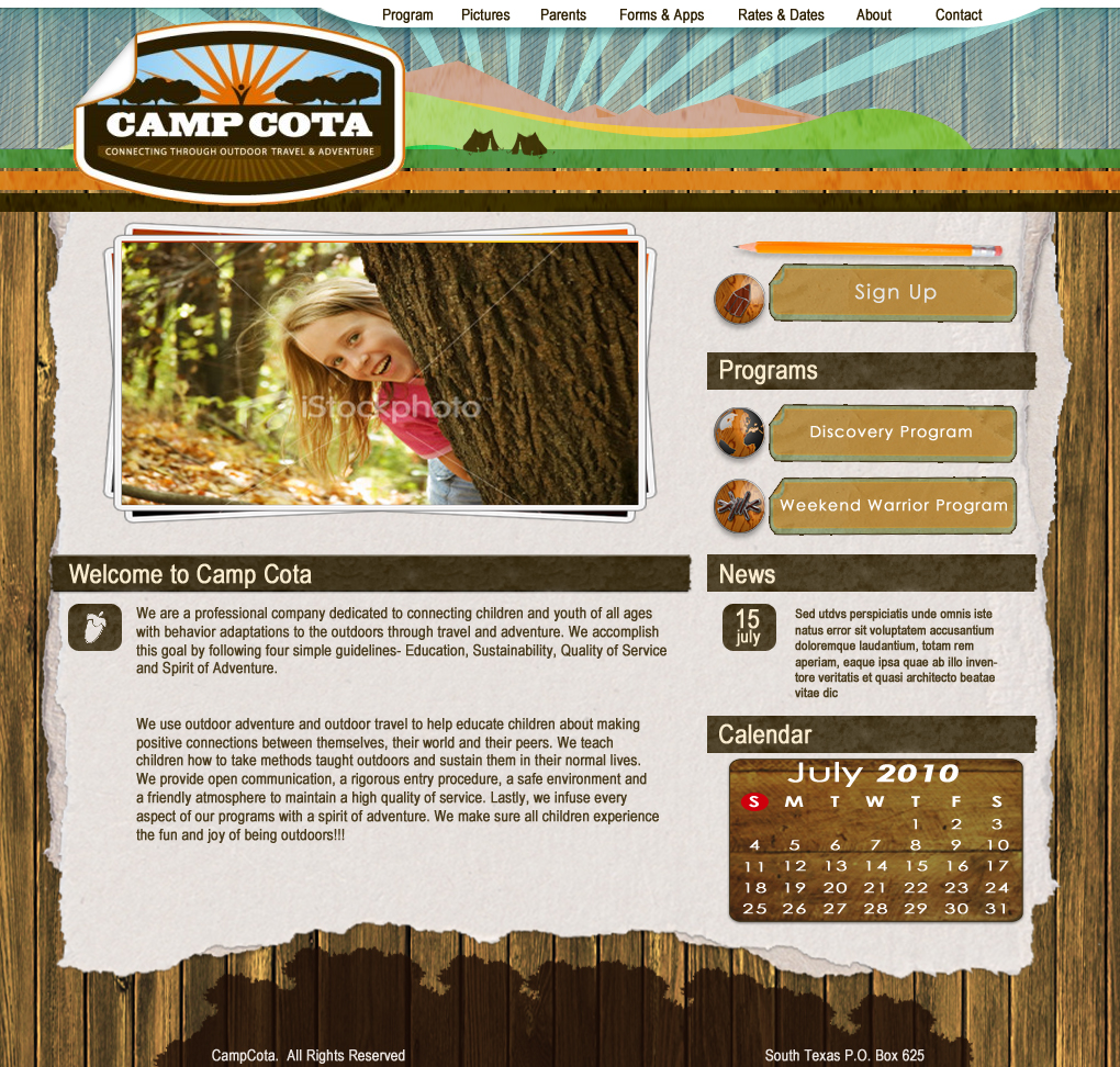 Web Page Design by Darrenmaher - Entry No. 32 in the Web Page Design Contest Camp COTA - Clean, Crisp Design Needed.