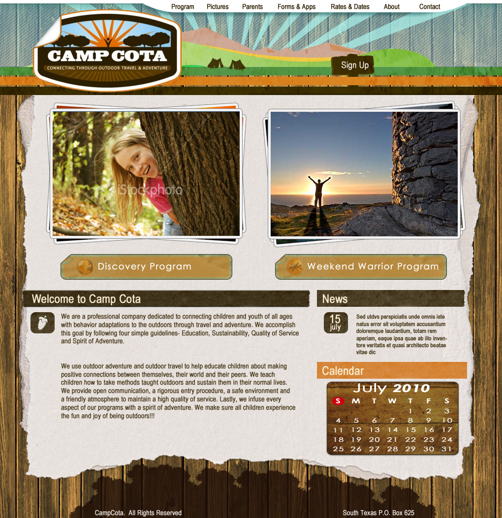 Web Page Design by Darrenmaher - Entry No. 33 in the Web Page Design Contest Camp COTA - Clean, Crisp Design Needed.