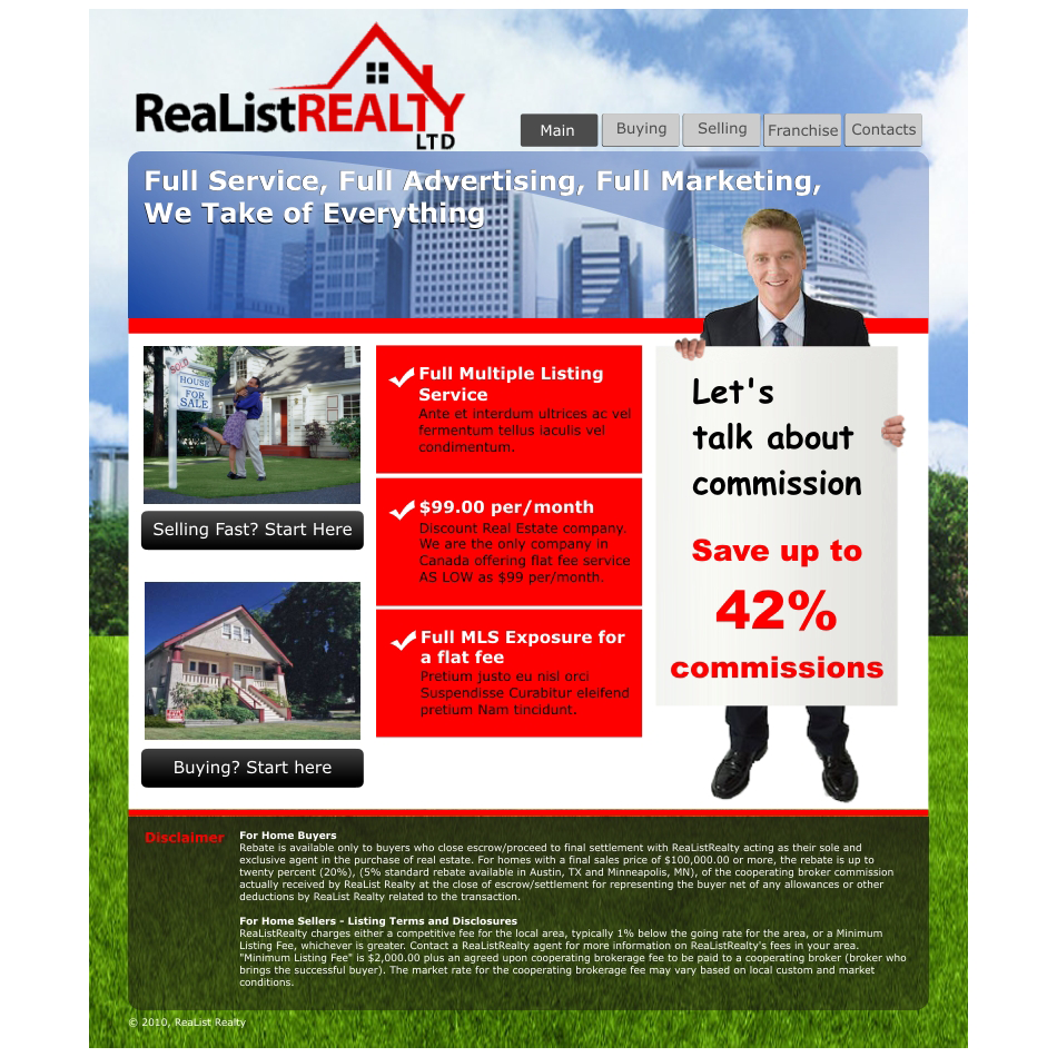 Web Page Design by aspstudio - Entry No. 71 in the Web Page Design Contest Realist Realty International Ltd..