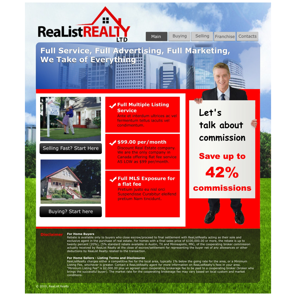 Web Page Design by aspstudio - Entry No. 72 in the Web Page Design Contest Realist Realty International Ltd..
