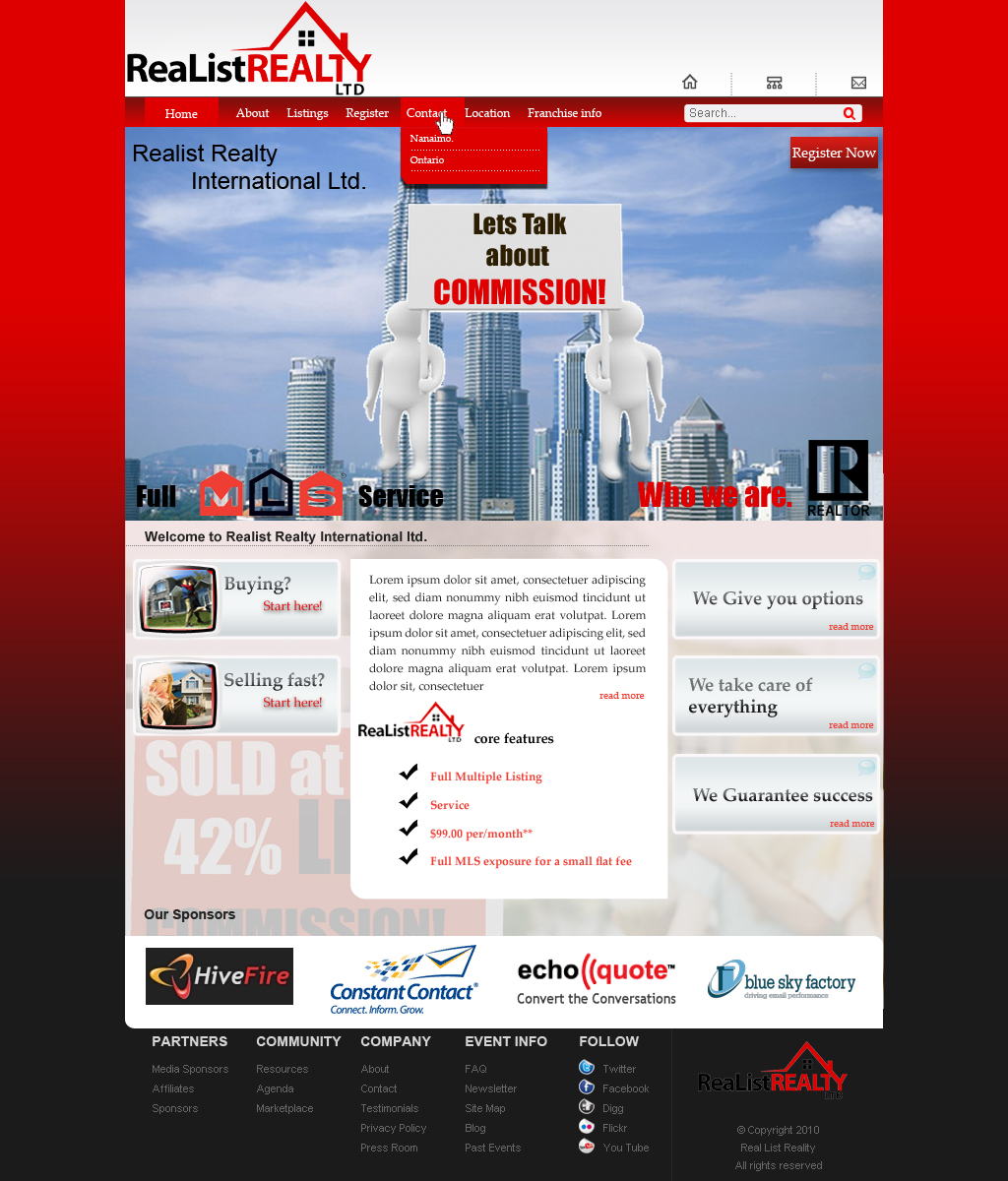 Web Page Design by Geniye - Entry No. 77 in the Web Page Design Contest Realist Realty International Ltd..