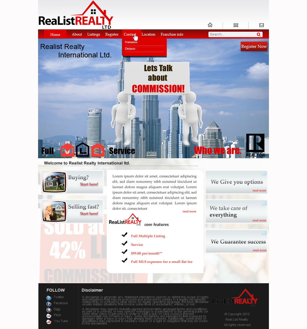 Web Page Design by Geniye - Entry No. 78 in the Web Page Design Contest Realist Realty International Ltd..