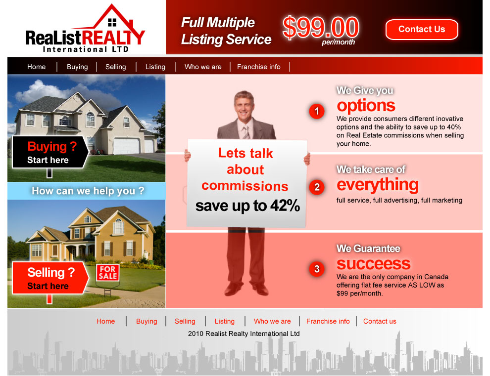 Web Page Design by Zisis-Papalexiou - Entry No. 79 in the Web Page Design Contest Realist Realty International Ltd..