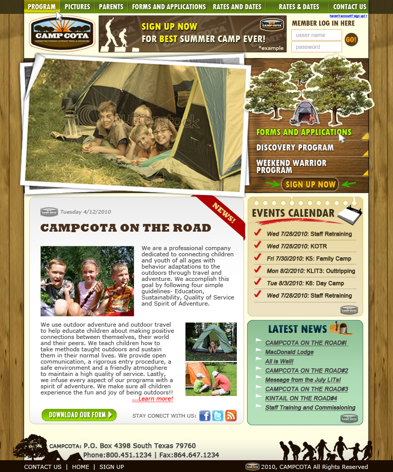 Web Page Design by florendias - Entry No. 45 in the Web Page Design Contest Camp COTA - Clean, Crisp Design Needed.