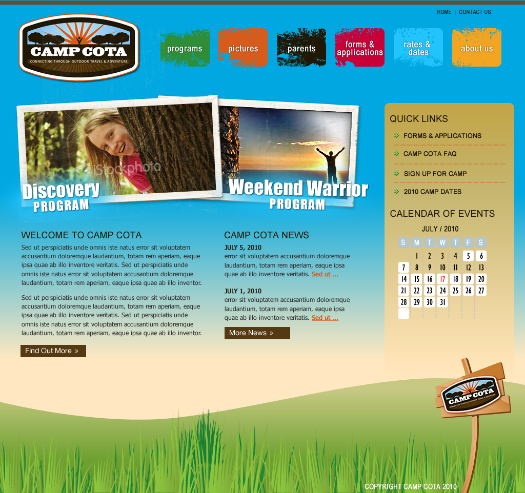 Web Page Design by wem24 - Entry No. 56 in the Web Page Design Contest Camp COTA - Clean, Crisp Design Needed.