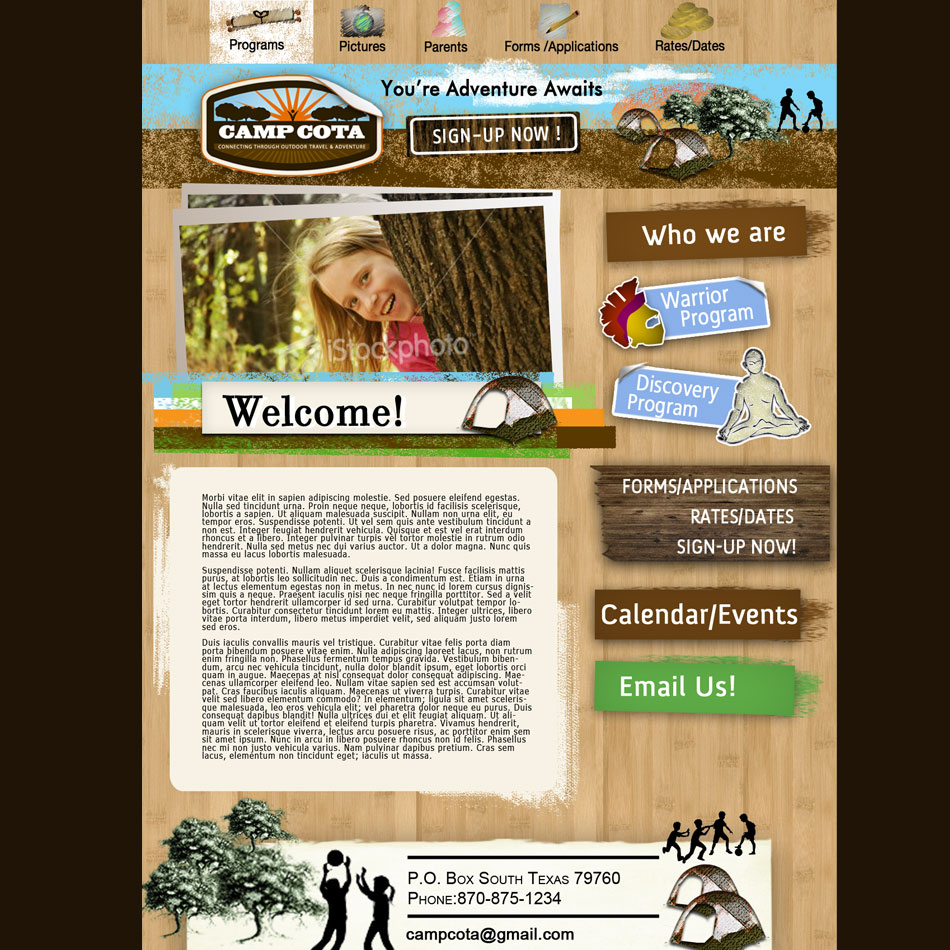 Web Page Design by Brian  Lu - Entry No. 59 in the Web Page Design Contest Camp COTA - Clean, Crisp Design Needed.