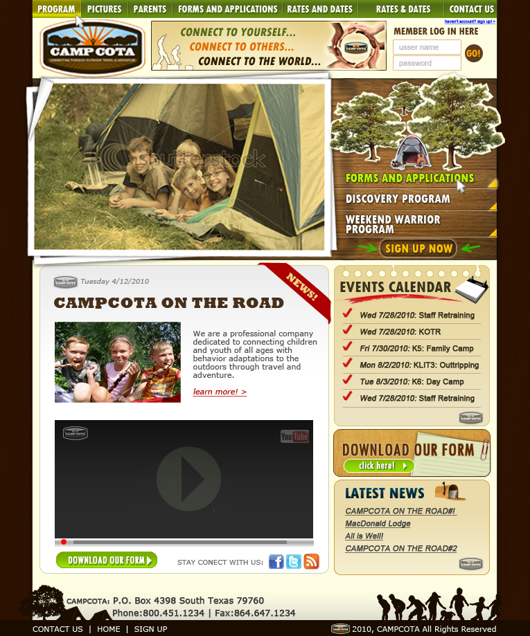 Web Page Design by florendias - Entry No. 61 in the Web Page Design Contest Camp COTA - Clean, Crisp Design Needed.