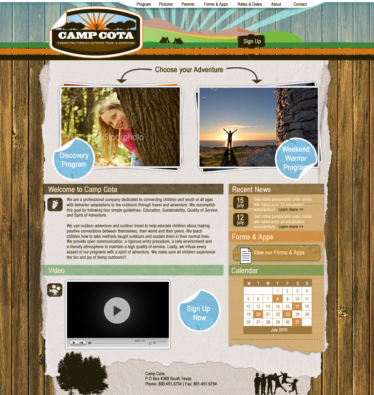 Web Page Design by Darrenmaher - Entry No. 68 in the Web Page Design Contest Camp COTA - Clean, Crisp Design Needed.