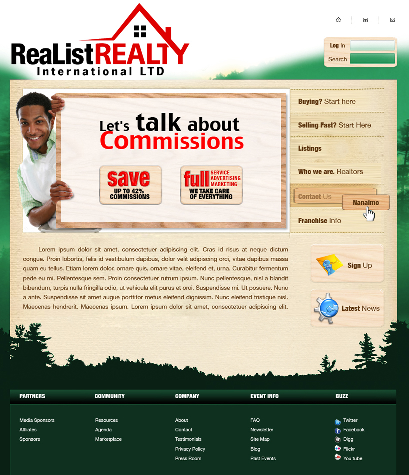 Web Page Design by garygeorgec - Entry No. 93 in the Web Page Design Contest Realist Realty International Ltd..