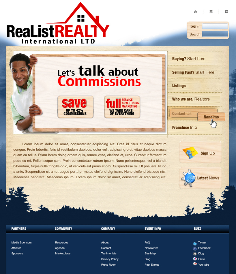 Web Page Design by garygeorgec - Entry No. 94 in the Web Page Design Contest Realist Realty International Ltd..