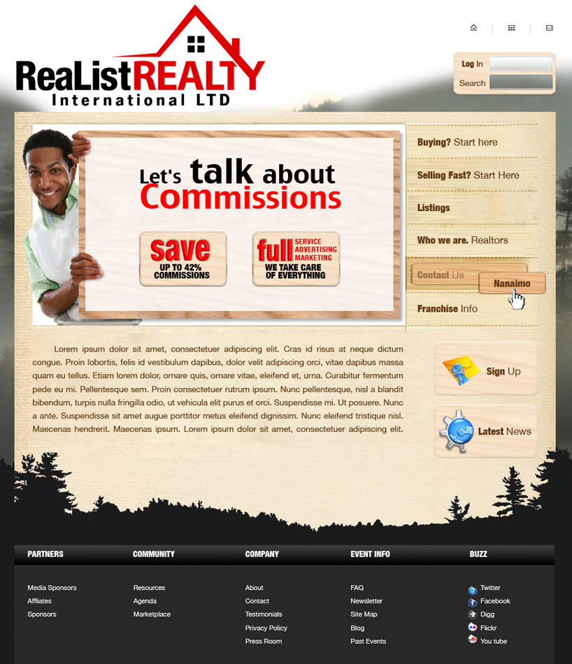 Web Page Design by garygeorgec - Entry No. 95 in the Web Page Design Contest Realist Realty International Ltd..