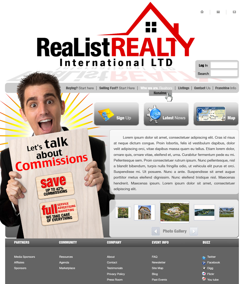 Web Page Design by garygeorgec - Entry No. 97 in the Web Page Design Contest Realist Realty International Ltd..
