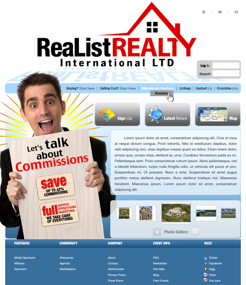 Web Page Design by garygeorgec - Entry No. 98 in the Web Page Design Contest Realist Realty International Ltd..