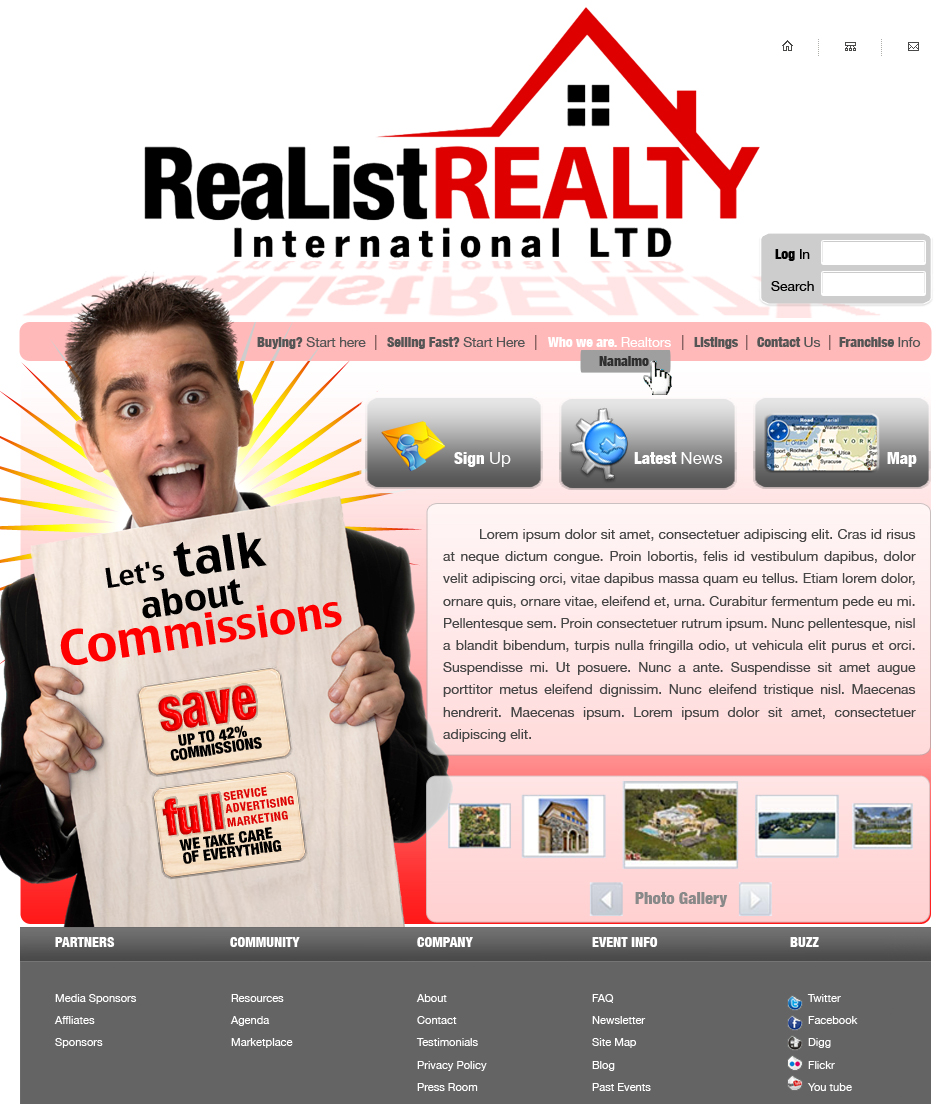 Web Page Design by garygeorgec - Entry No. 99 in the Web Page Design Contest Realist Realty International Ltd..