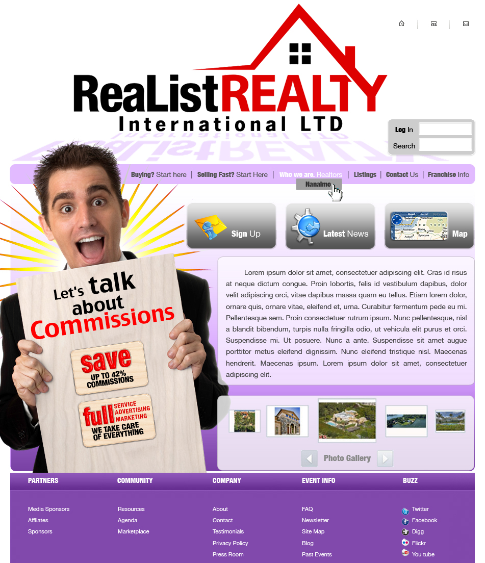 Web Page Design by garygeorgec - Entry No. 100 in the Web Page Design Contest Realist Realty International Ltd..