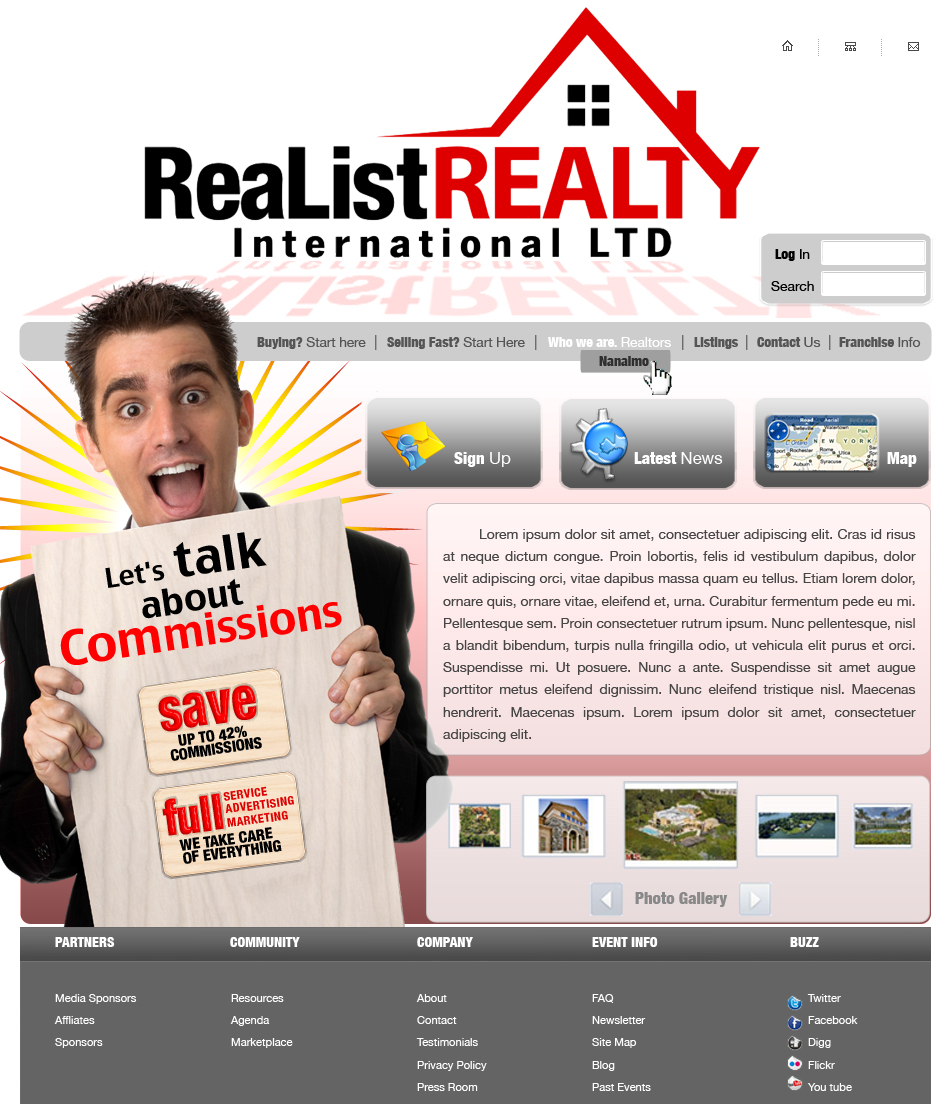 Web Page Design by garygeorgec - Entry No. 101 in the Web Page Design Contest Realist Realty International Ltd..