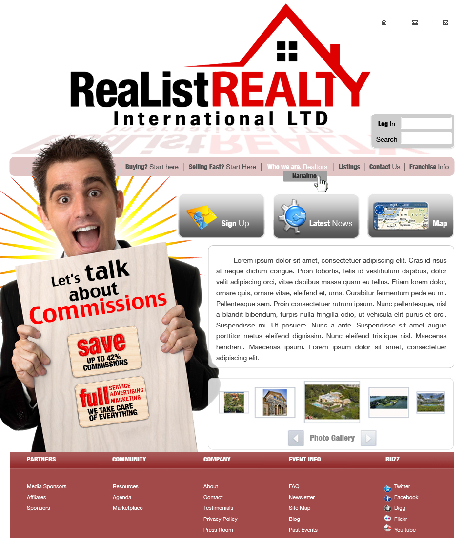Web Page Design by garygeorgec - Entry No. 102 in the Web Page Design Contest Realist Realty International Ltd..