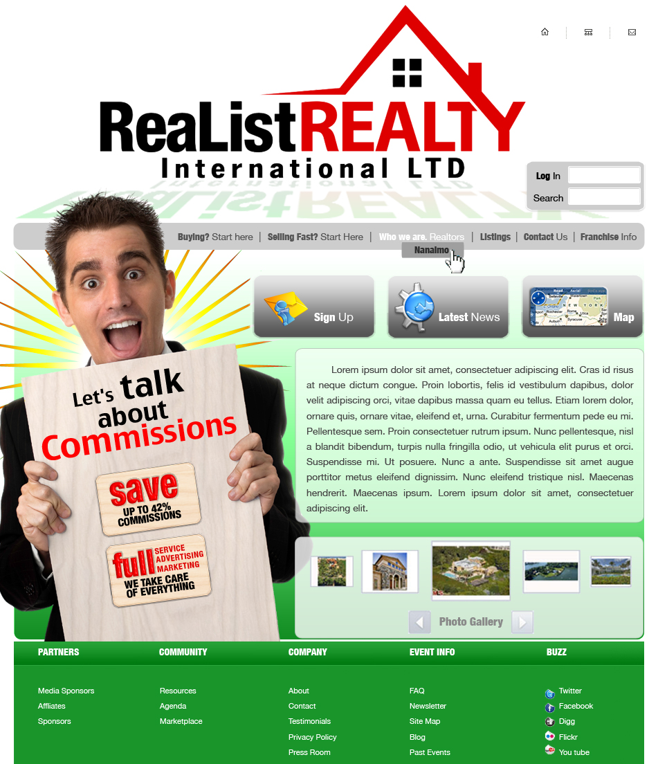 Web Page Design by garygeorgec - Entry No. 103 in the Web Page Design Contest Realist Realty International Ltd..